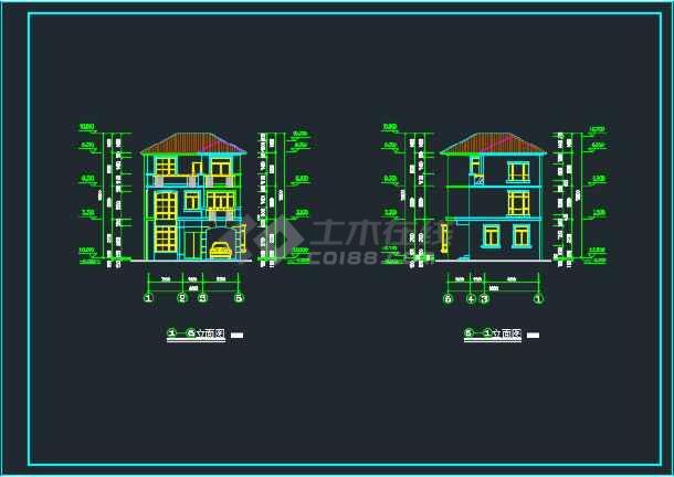北京某地三层别墅CAD设计施工图-图3