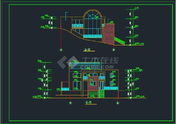 室内带游泳池的别墅建筑CAD施工图-图3