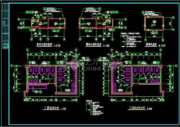 某四层厂房建筑的详细cad施工设计图-图1
