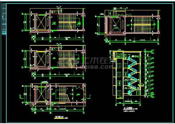 某四层厂房建筑的详细cad施工设计图-图2