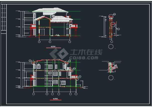 全套上海绿洲某别墅建筑CAD施工图-图2