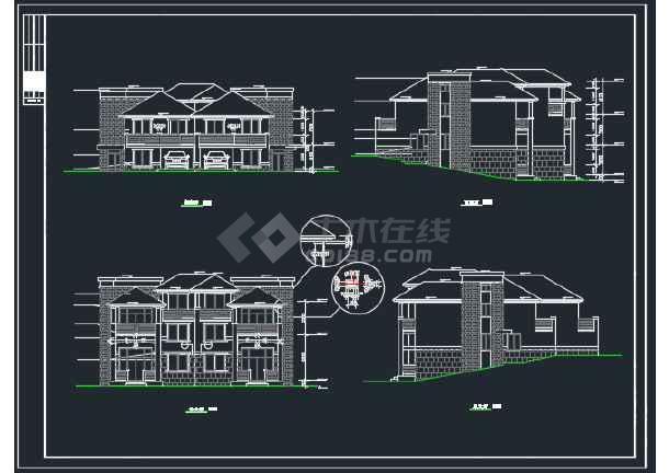 山体别墅北入口全套建筑CAD施工图-图1
