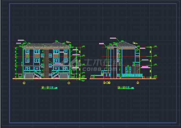 北京某地双拼别墅建筑CAD施工图-图3