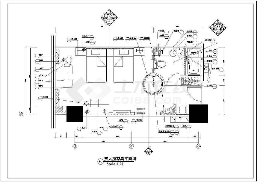 具有特色的双人房间精装装修设计图-图2
