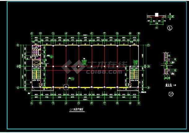 某四层厂房全套建筑设计施工CAD图-图3