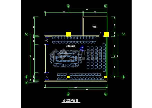 某会议室装饰设计CAD全套详图图纸-图1