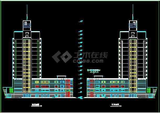 某假日广场建筑CAD施工设计平立面图纸-图3