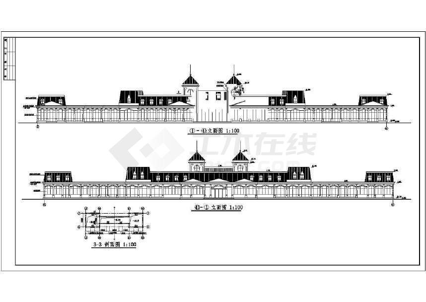 某大型余杭茶馆CAD建筑施工图(共12张)-图1