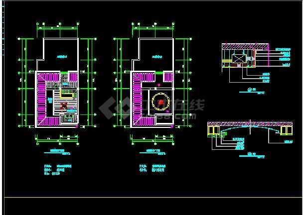 某市带天台别墅室内设计装修cad平立剖面施工图