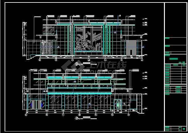 某酒店大堂立面装修设计CAD详图图纸-图3