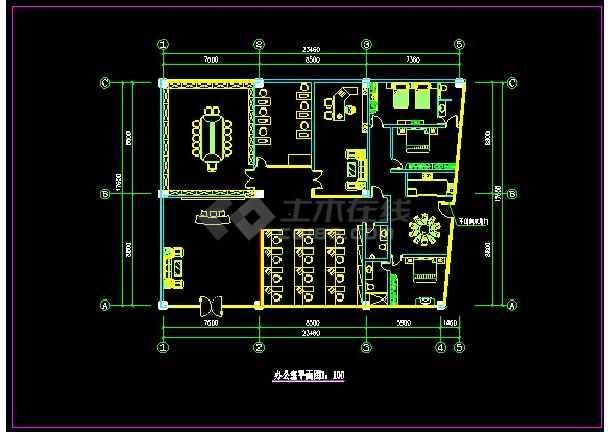某办公室精装修装饰详情CAD图纸-图1