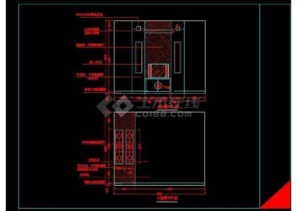 某KTV包箱装修施工设计CAD详情图-图3
