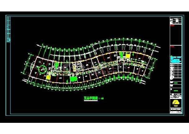 多层弧形办公楼建筑施工cad设计方案图纸