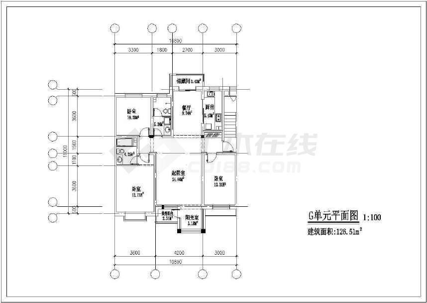 某地北方住宅户型建筑cad方案图-图2