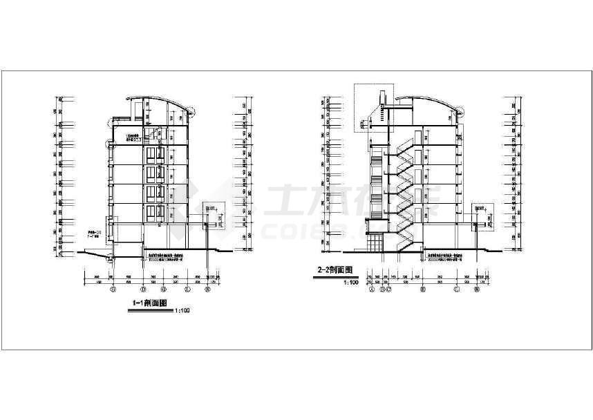 某地详细的扬子名苑16#建筑施工图(平立剖)-图3