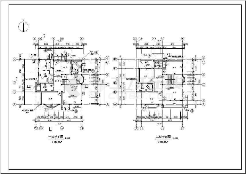 某地小别墅建筑cad设计图(含设计说明)-图1