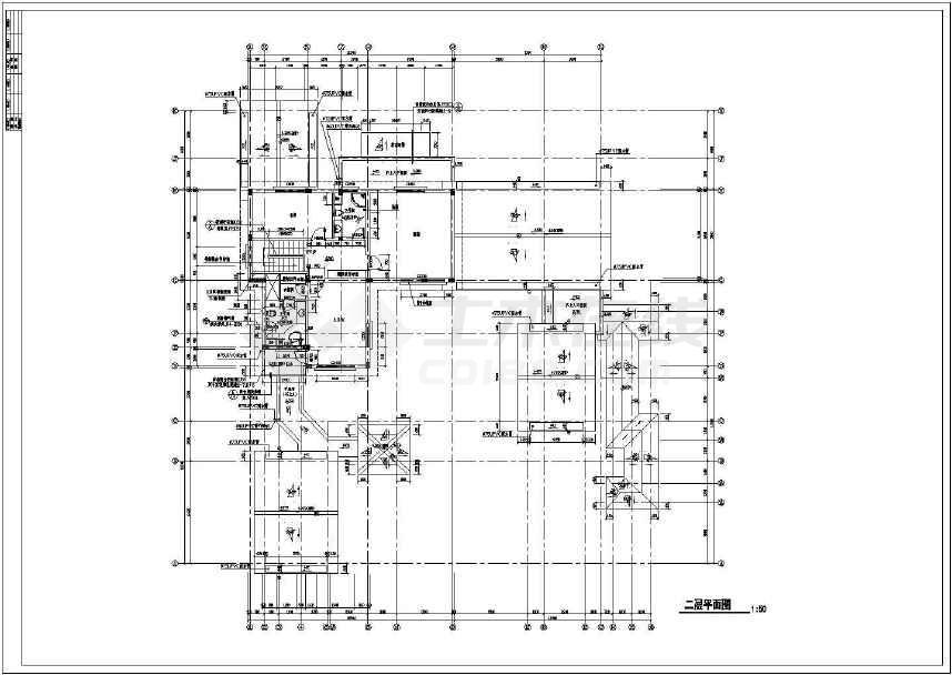 中国古典某地大型别墅建筑CAD施工图-图2