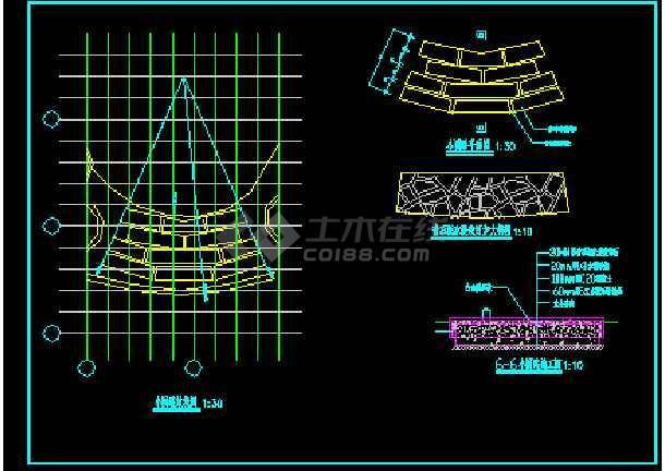 某花架、景门施工施工CAD详情图-图3