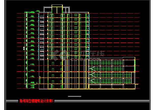 某商住楼建筑CAD设计方案图纸(带效果图)-图1