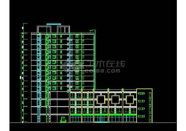 某商住楼建筑CAD设计方案图纸(带效果图)-图2