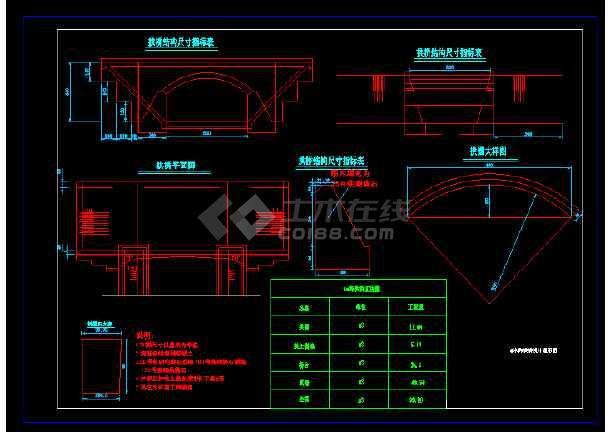 某建筑六米跨拱桥cad施工设计图纸cad单位意思是工程什么图片