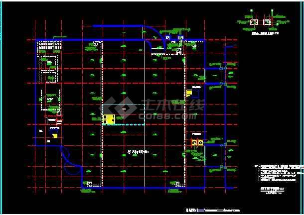 某商厦建筑CAD设计总平面及各层平面图-图1