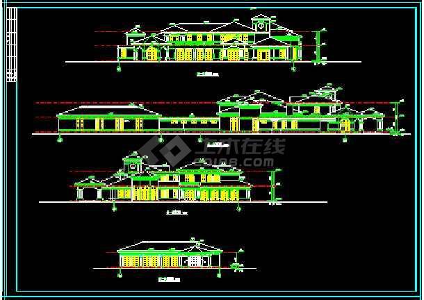 会所建筑施工设计CAD平立面方案图纸-图1