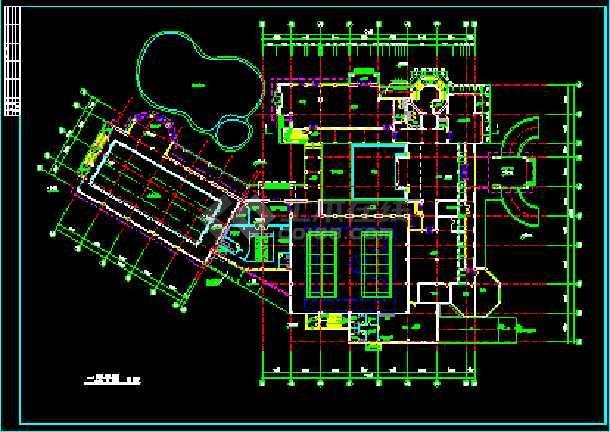 会所建筑施工设计CAD平立面方案图纸-图2