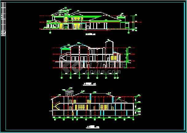 会所建筑施工设计CAD平立面方案图纸-图3