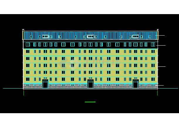 某7层框架坡屋顶住宅楼CAD设计施工图-图2