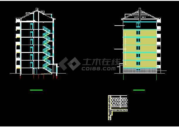 某7层框架坡屋顶住宅楼CAD设计施工图-图3