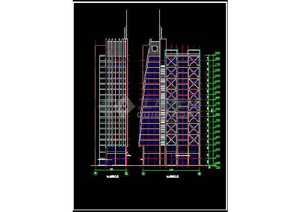 某市经典办公室室内装修设计cad施工图纸-图2