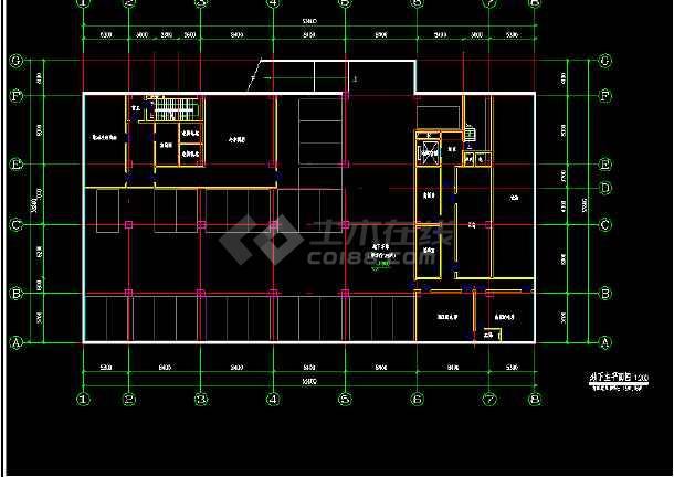 某市经典办公室室内装修设计cad施工图纸-图3
