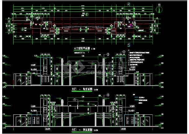 某地大门完整CAD平面设计施工图纸-图1