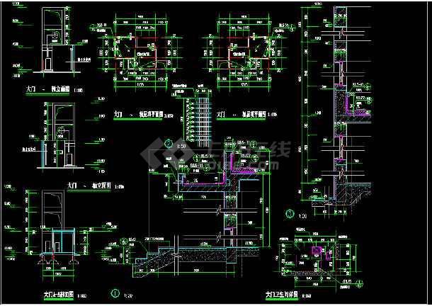 某地大门完整CAD平面设计施工图纸-图2