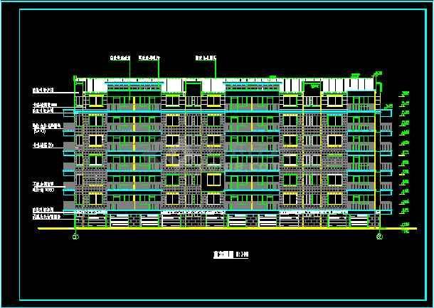 天花小区住宅楼六层住宅建筑施工设计CAD图-图1