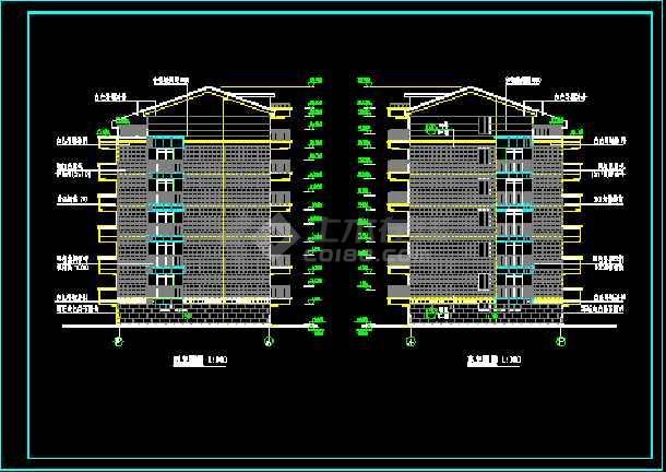天花小区住宅楼六层住宅建筑施工设计CAD图-图2