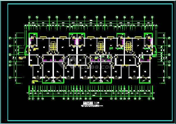 天花小区住宅楼六层住宅建筑施工设计CAD图-图3