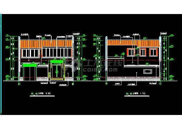 本资料为:北方四合院建筑cad施工设计图带效果图,包括:平面图,立面图