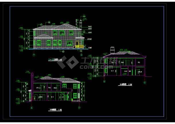 某市宾馆别墅cad设计全套施工图-图1