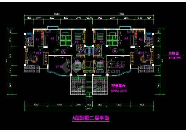 某市叠加方案别墅cad设计施工图纸-图1