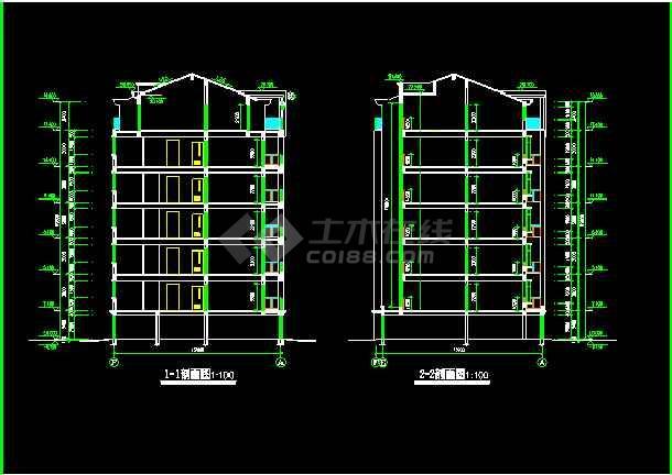 某市单元式多层住宅建筑CAD设计施工图-图3