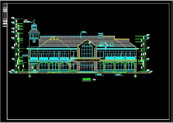 某山庄会馆建筑施工设计CAD全套图-图1