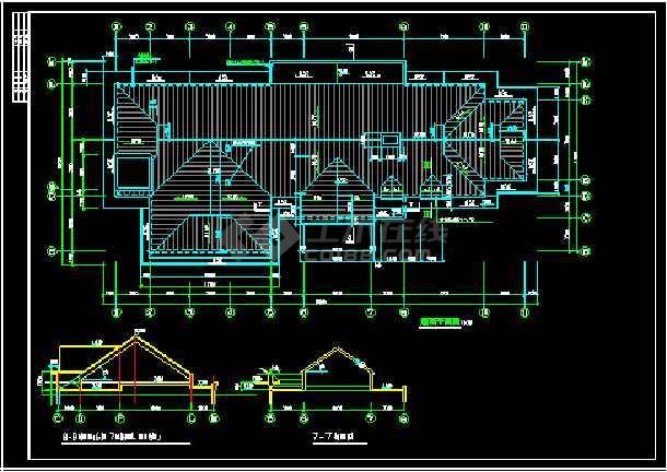 某山庄会馆建筑施工设计CAD全套图-图2