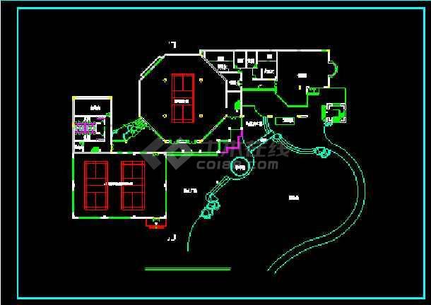 某豪华会所建筑设计施工CAD方案图-图3