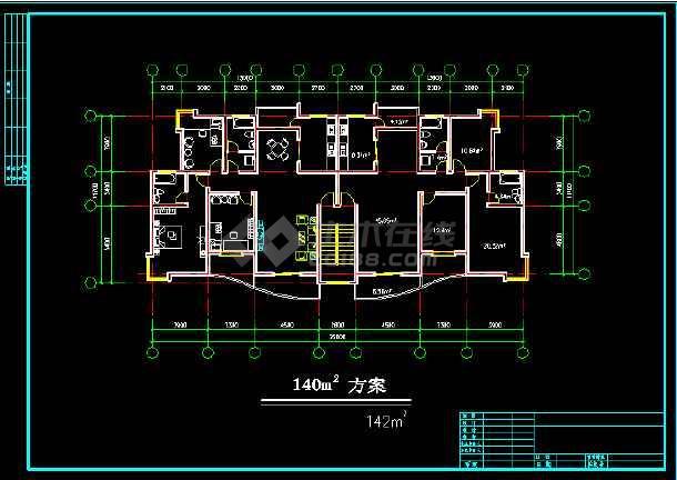 某多层住宅建筑施工设计CAD平面图-图1