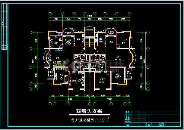 某多层住宅建筑施工设计CAD平面图-图2
