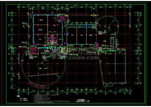 某大学生活动中心建筑设计cad施工方案图-图1