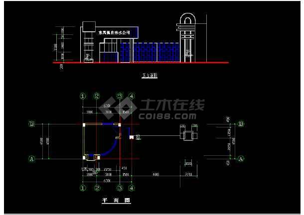 某市大门建筑CAD平立面设计图方案-图1