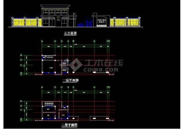 某市大门建筑CAD平立面设计图方案-图2
